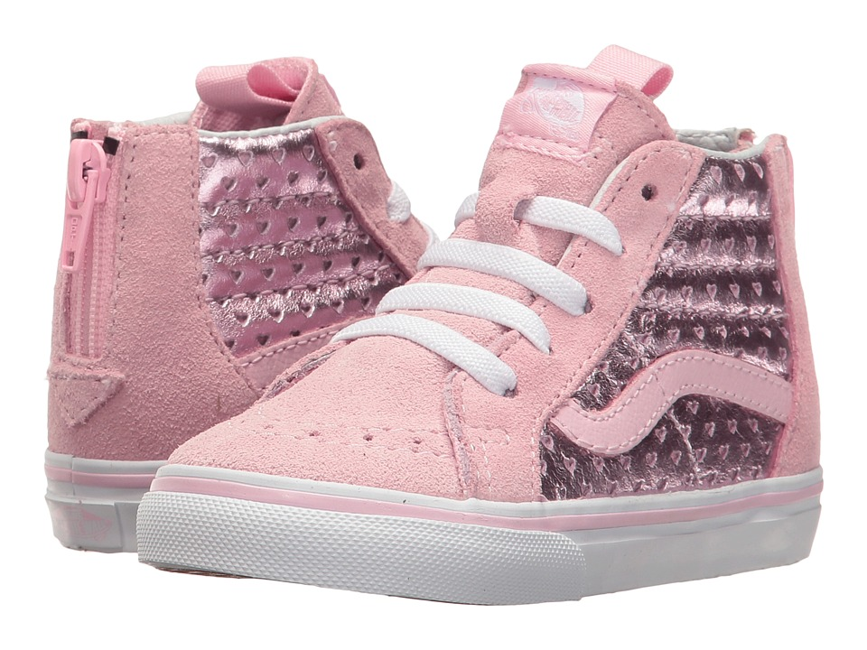 Vans Kids - Sk8-Hi Zip (Toddler) ((Metallic Heart Perf) Pink Mist) Girls Shoes