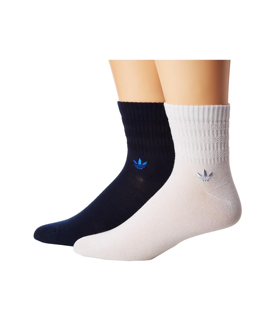 adidas - Originals Textured 3-Stripe Quarter Sock 2-Pack
