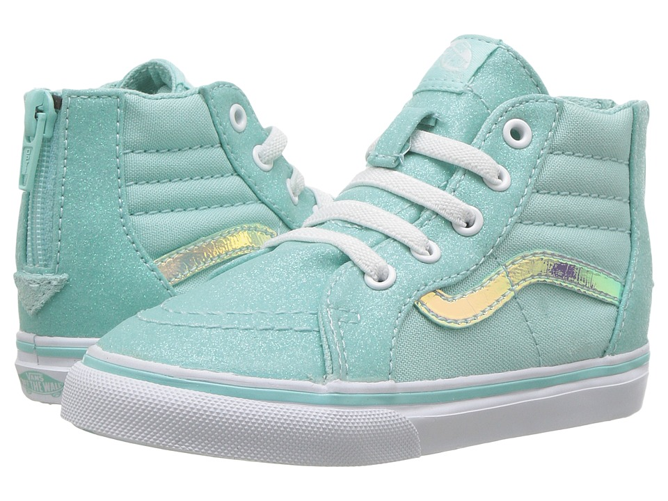 Vans Kids - Sk8-Hi Zip (Toddler) ((Glitter & Iridescent) Blue/True White) Girls Shoes