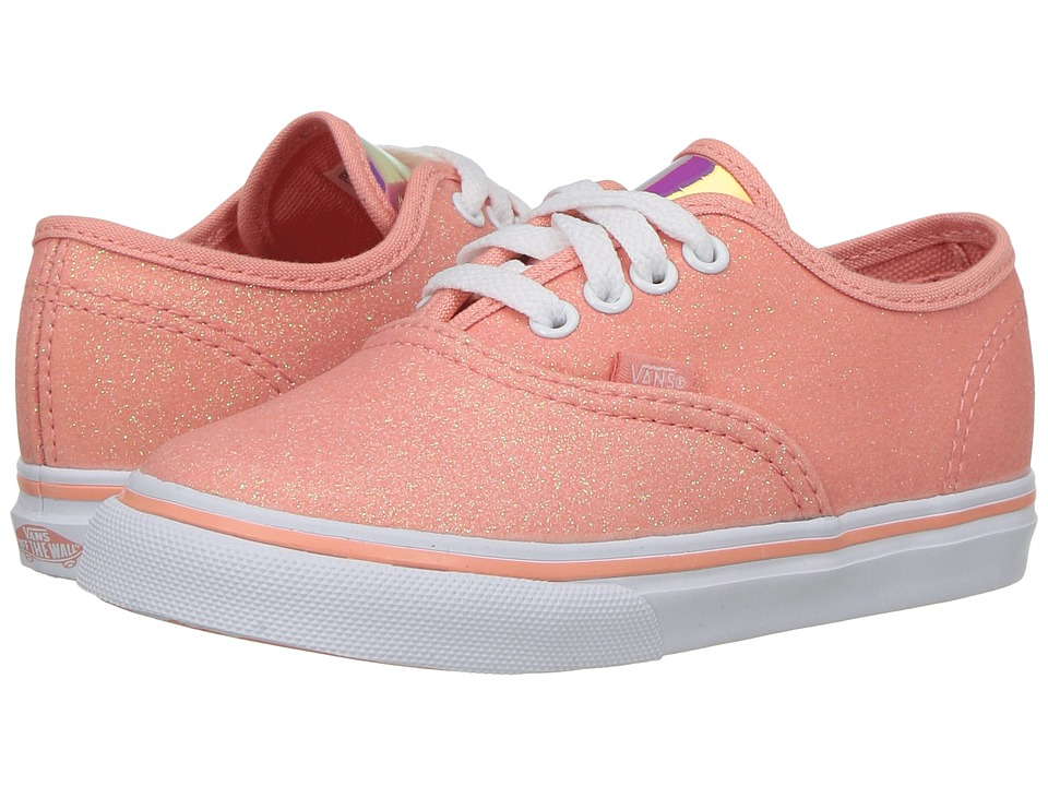 Vans Kids Authentic (Toddler) ((Glitter & Iridescent) Coral/True White) Girls Shoes