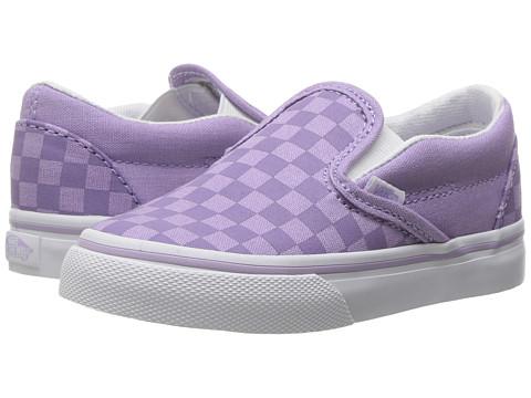 Vans Kids Classic Slip-On (Toddler) - (Tonal Check) Lavender