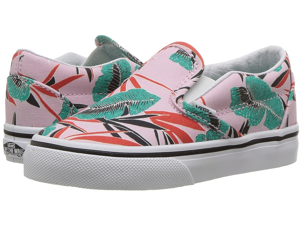 Vans Kids Classic Slip-On (Toddler) ((Tropical Leaves) Pink Lady) Girls Shoes