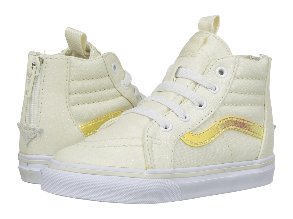 Vans Kids - Sk8-Hi Zip (Toddler) ((Glitter & Iridescent) White/True White) Girls Shoes