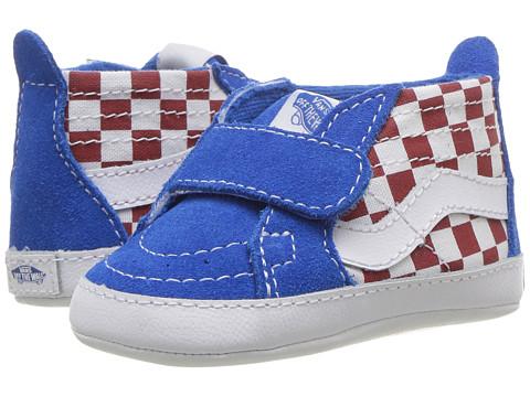 Vans Kids SK8-Hi Crib (Infant/Toddler) - (Checkerboard) Racing Red/Imperial Blue