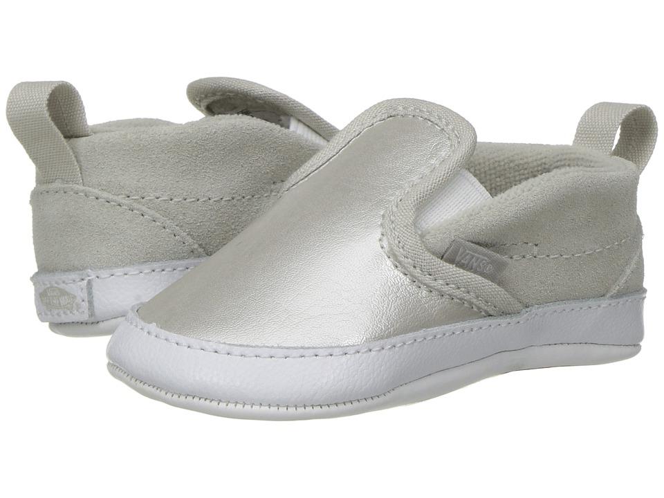 Vans Kids Slip-On V Crib (Infant/Toddler) ((Metallic) Silver/True White) Girls Shoes
