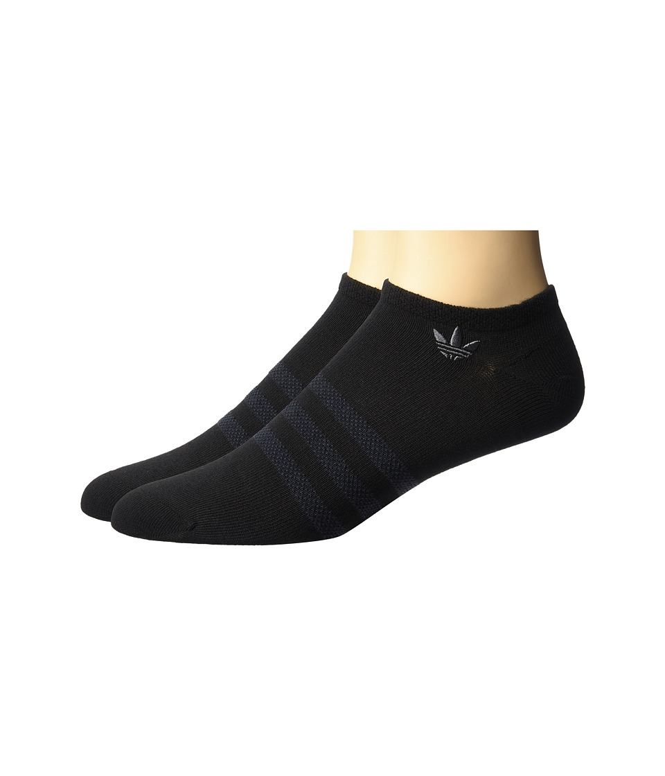 adidas - Originals Textured 3-Stripe No Show Sock 2-Pack