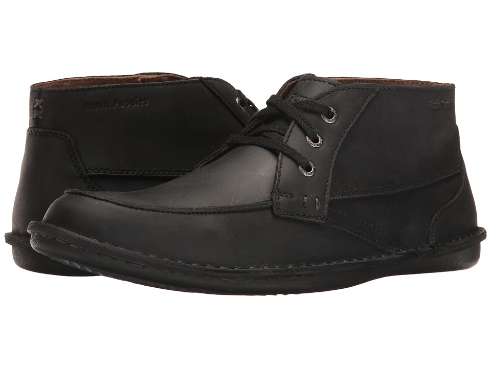 Hush Puppies Alby Roll Flex (Black Leather) Men