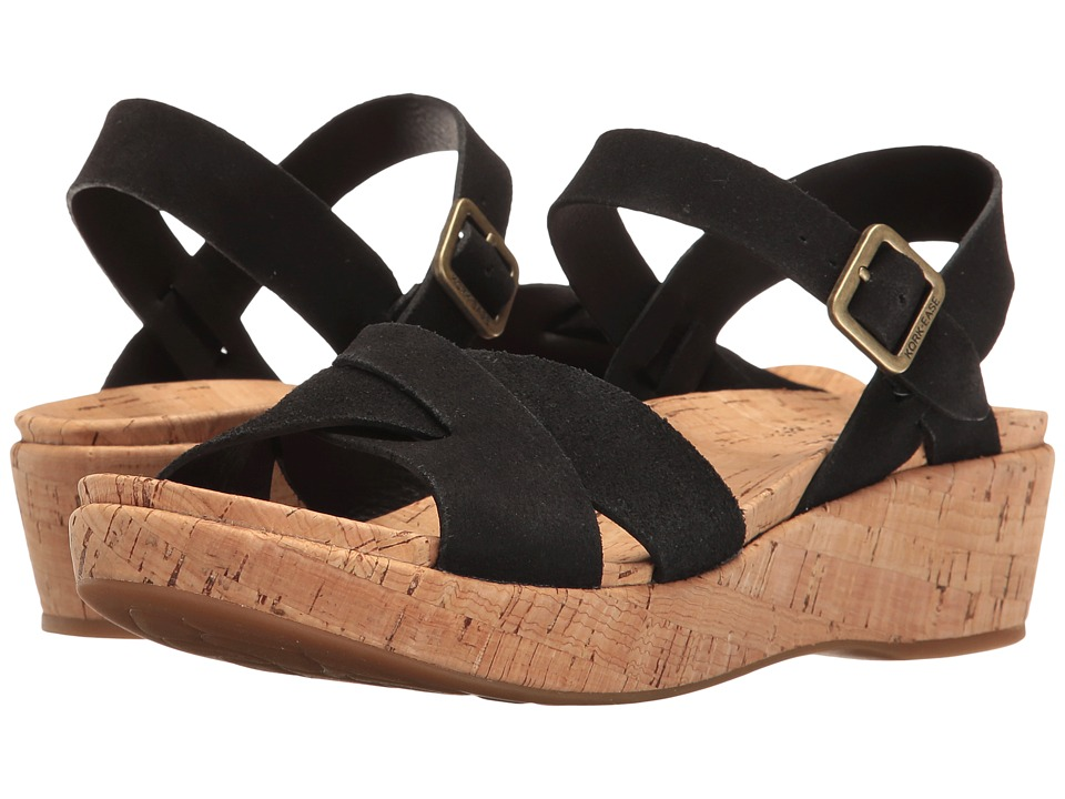 1960s Inspired Fashion: Recreate the Look Kork-Ease - Myrna 2.0 Black Suede Womens Wedge Shoes $140.00 AT vintagedancer.com