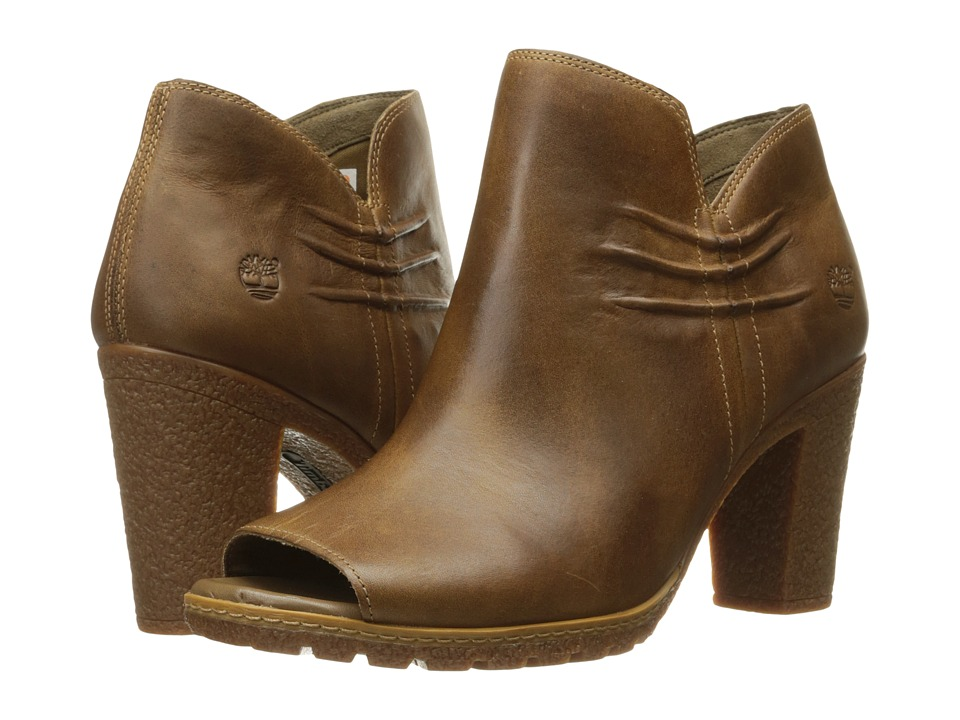 Timberland Glancy Rouched Peep-Toe (Medium Brown Full Grain) High Heels