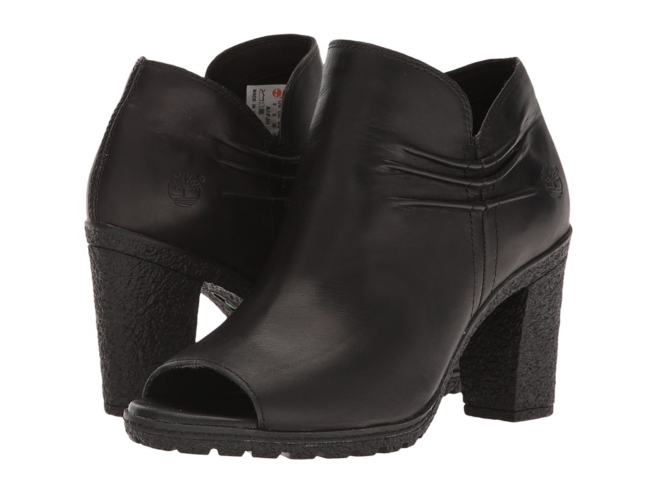 Timberland Glancy Rouched Peep-Toe (Black Full Grain) High Heels
