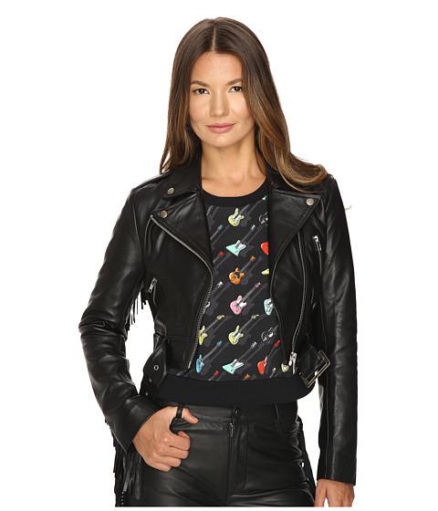 Jeremy Scott Studded Leather Moto Jacket - Black