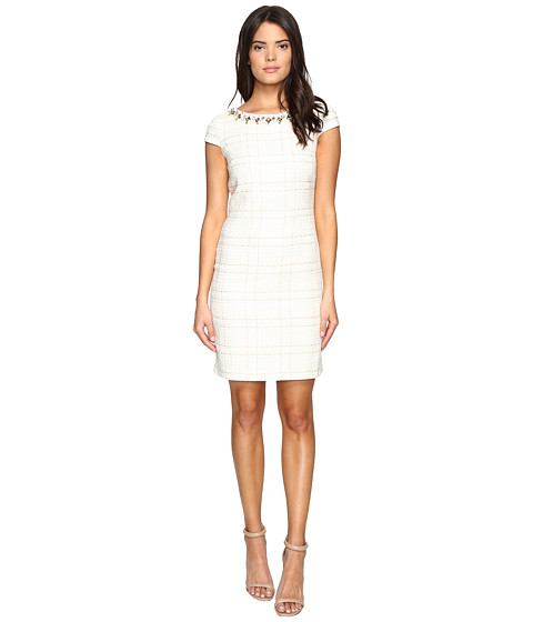 Vince Camuto Short Sleeve A-Line Shift Dress with Beaded Neckline