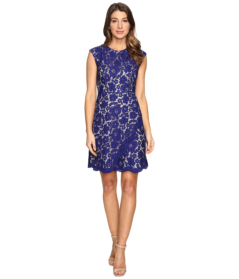 Vince Camuto Lace Extended Cap A-Line Dress with Scallop and Overlap Skirt (Royal) Women
