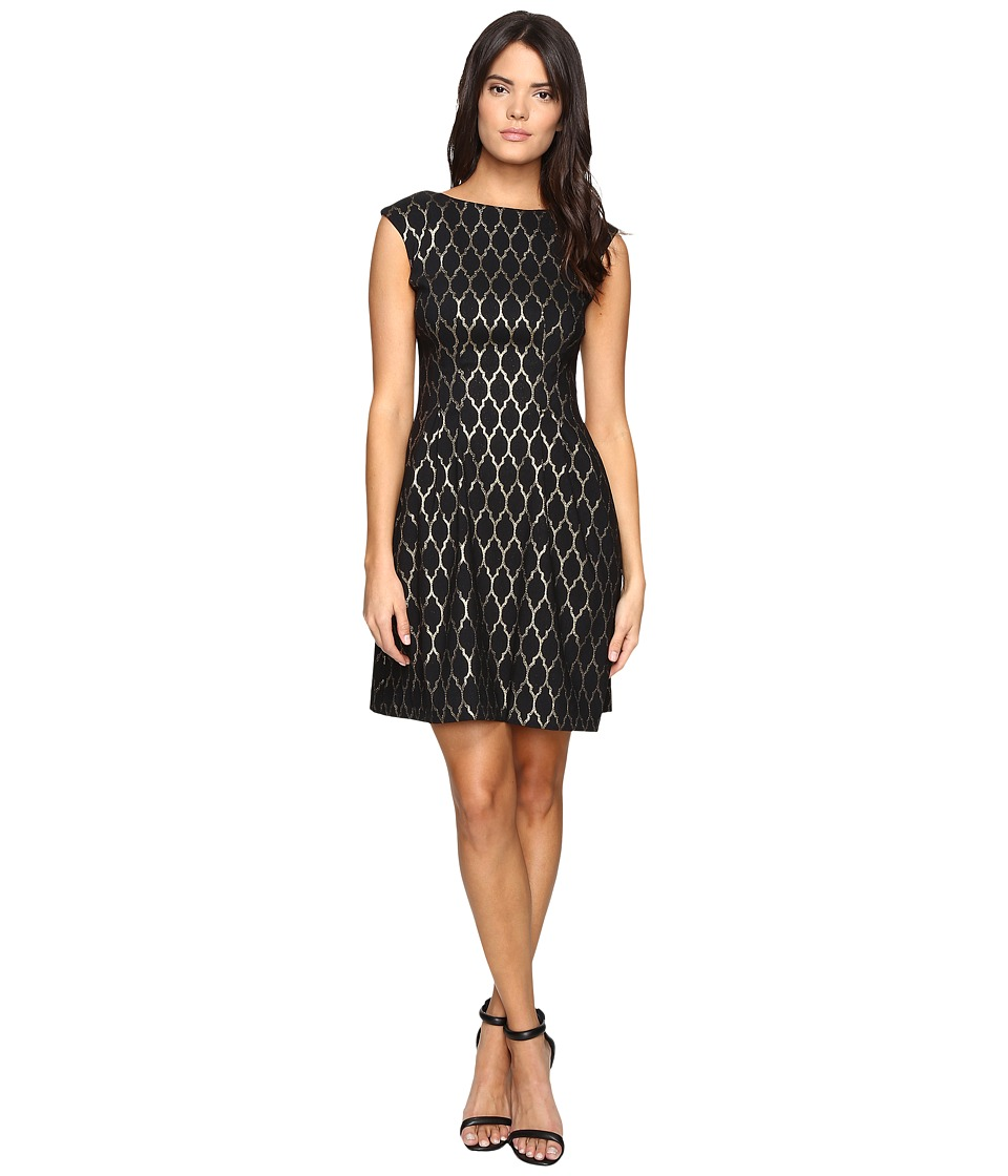 Vince Camuto Extended Cap Fit and Flare Dress (Black/Gold) Women