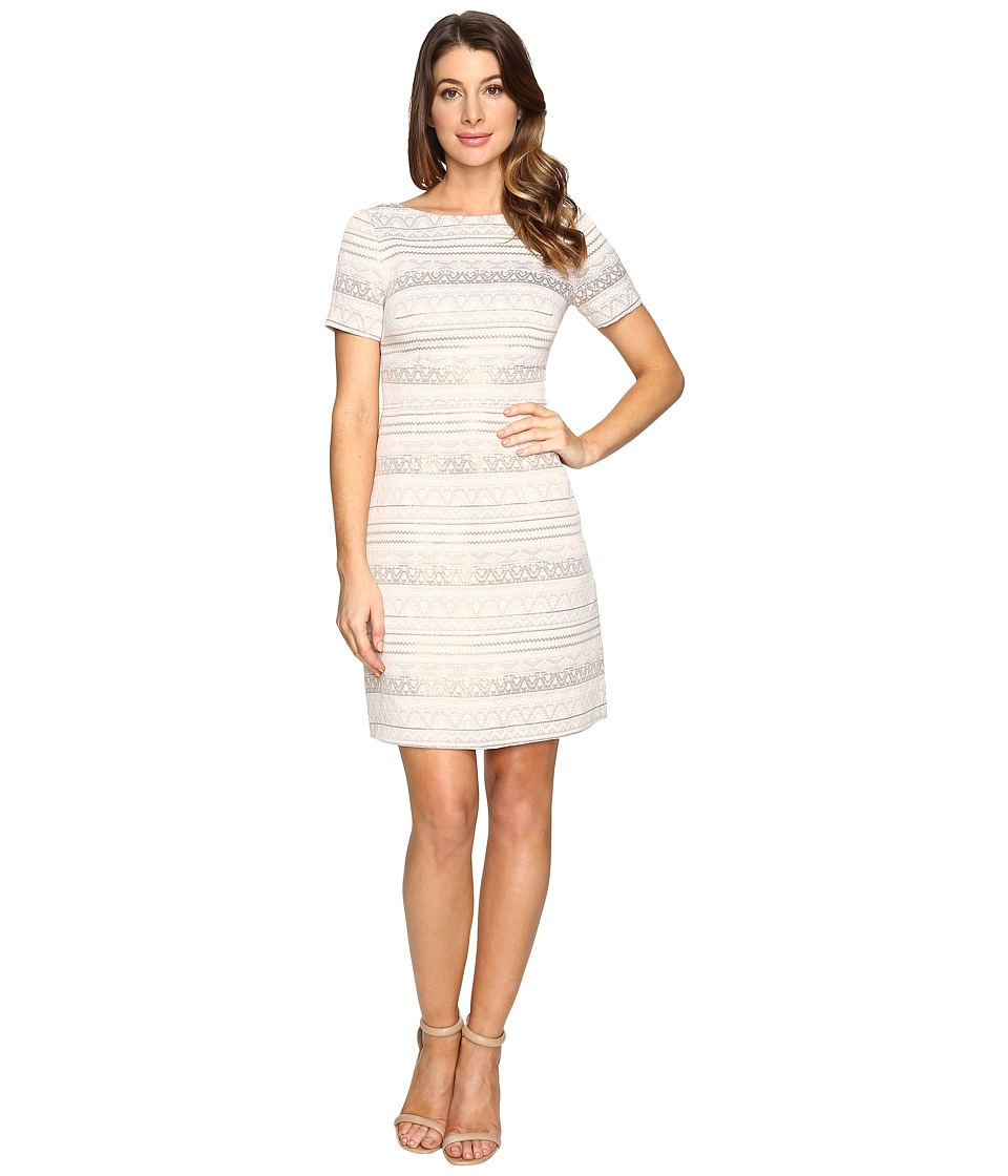 Vince Camuto Jacquard A-Line Dress with Short Sleeves (Beige) Women
