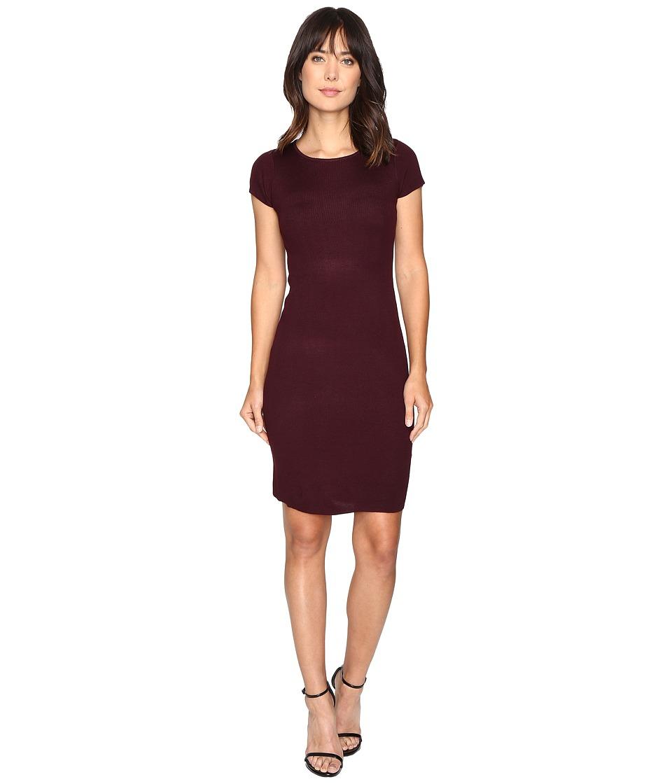 Culture Phit Germaine Ribbed Bodycon Sweater Dress (Plum) Women