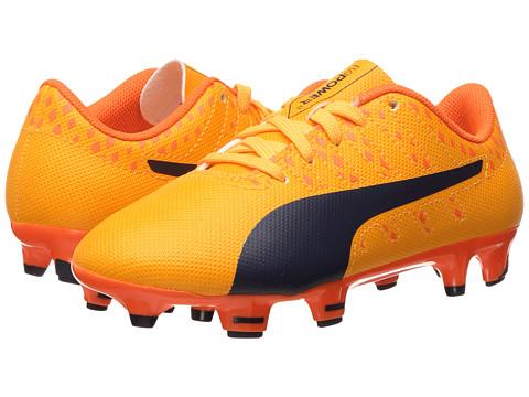 Puma Kids evoPower Vigor 4 FG Jr Soccer (Little Kid/Big Kid) - Ultra Yellow/Peacoat/Orange Clown Fish