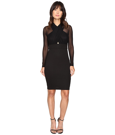Brigitte Bailey Reeve Cross-Front Bodycon Dress with Mesh