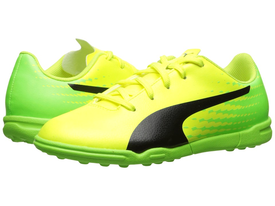 Puma Kids evoSPEED 17.5 TT Jr Soccer (Little Kid/Big Kid) (Safety Yellow/Puma Black/Green Gecko) Kids Shoes