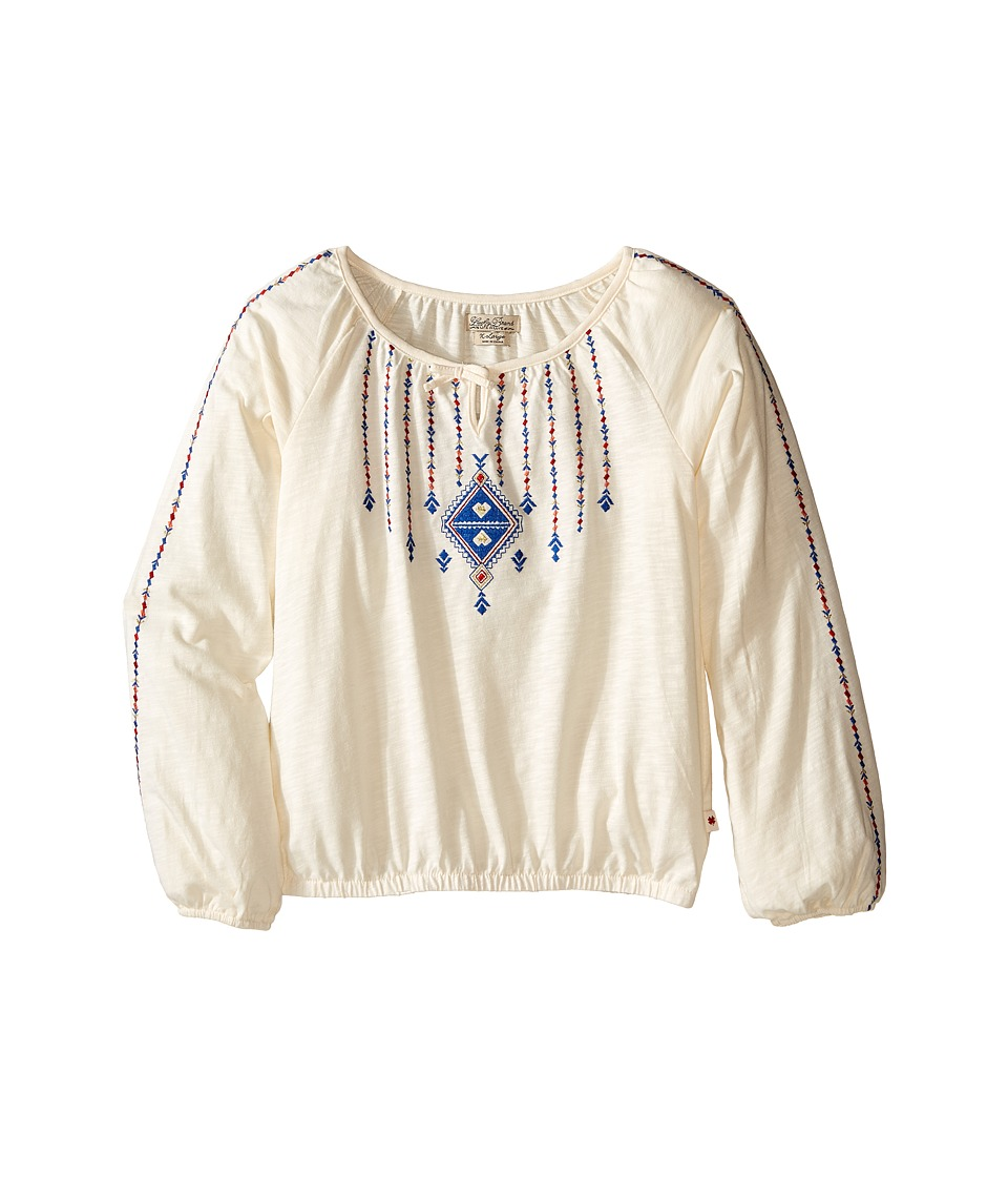 Lucky Brand Kids - Long Sleeve Peasant Top with Lurex and Embroidery