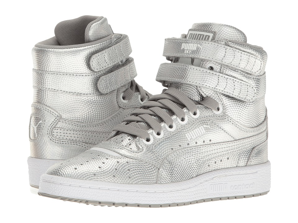 Puma Kids Sky II Hi Holo Jr (Big Kid) (Silver) Girls Shoes