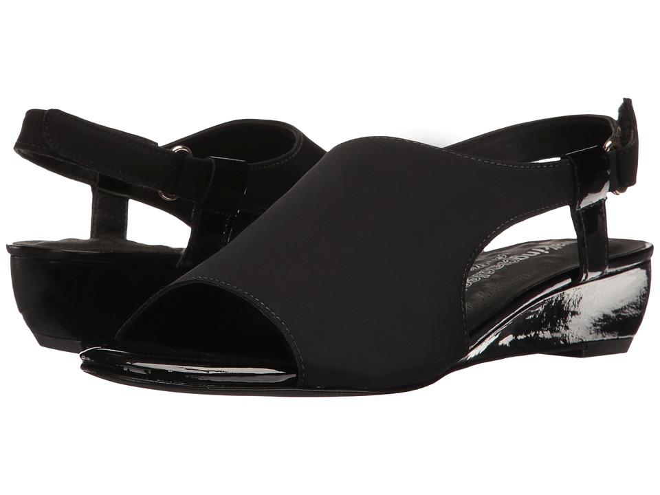 Walking Cradles Daphne (Black Micro/Black Patent) Wedges