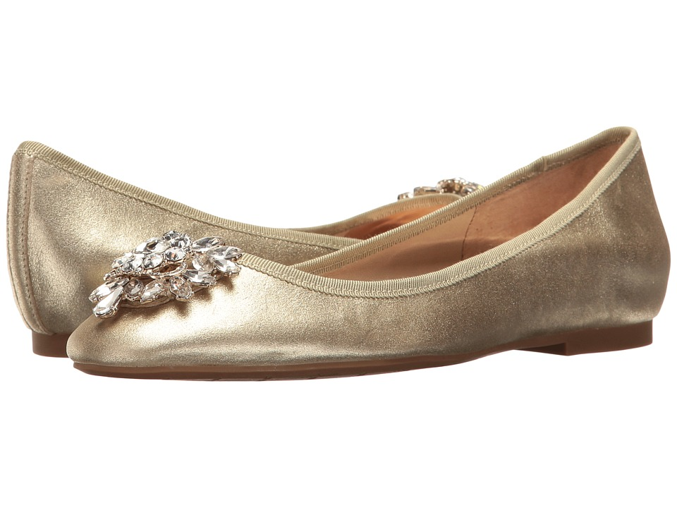 1920s Wedding Dresses- Art Deco Style Badgley Mischka - Bianca Platino Metallic Suede Womens Flat Shoes $145.00 AT vintagedancer.com