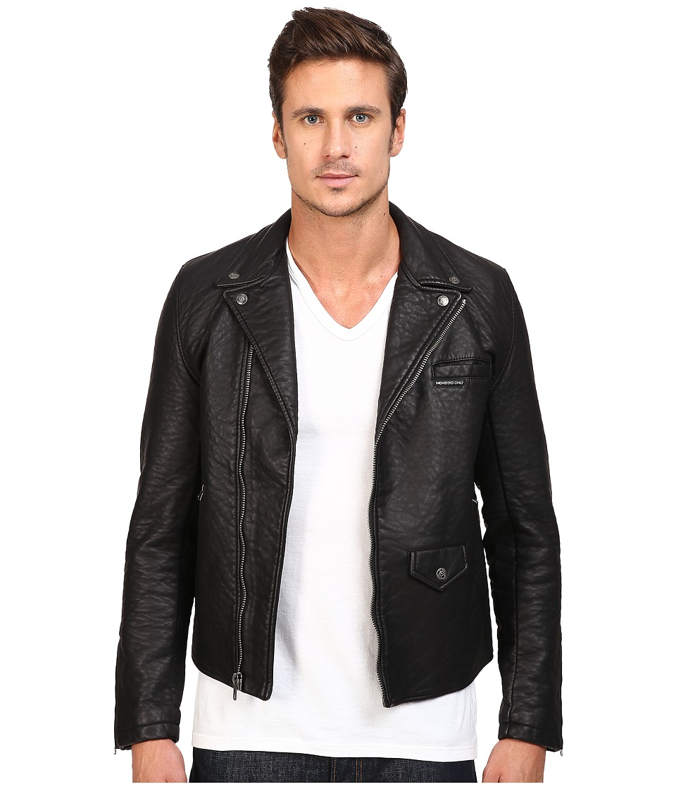 Men's Vintage Style Coats and Jackets Members Only - Bubble PU Biker Jacket Black Mens Coat $185.00 AT vintagedancer.com