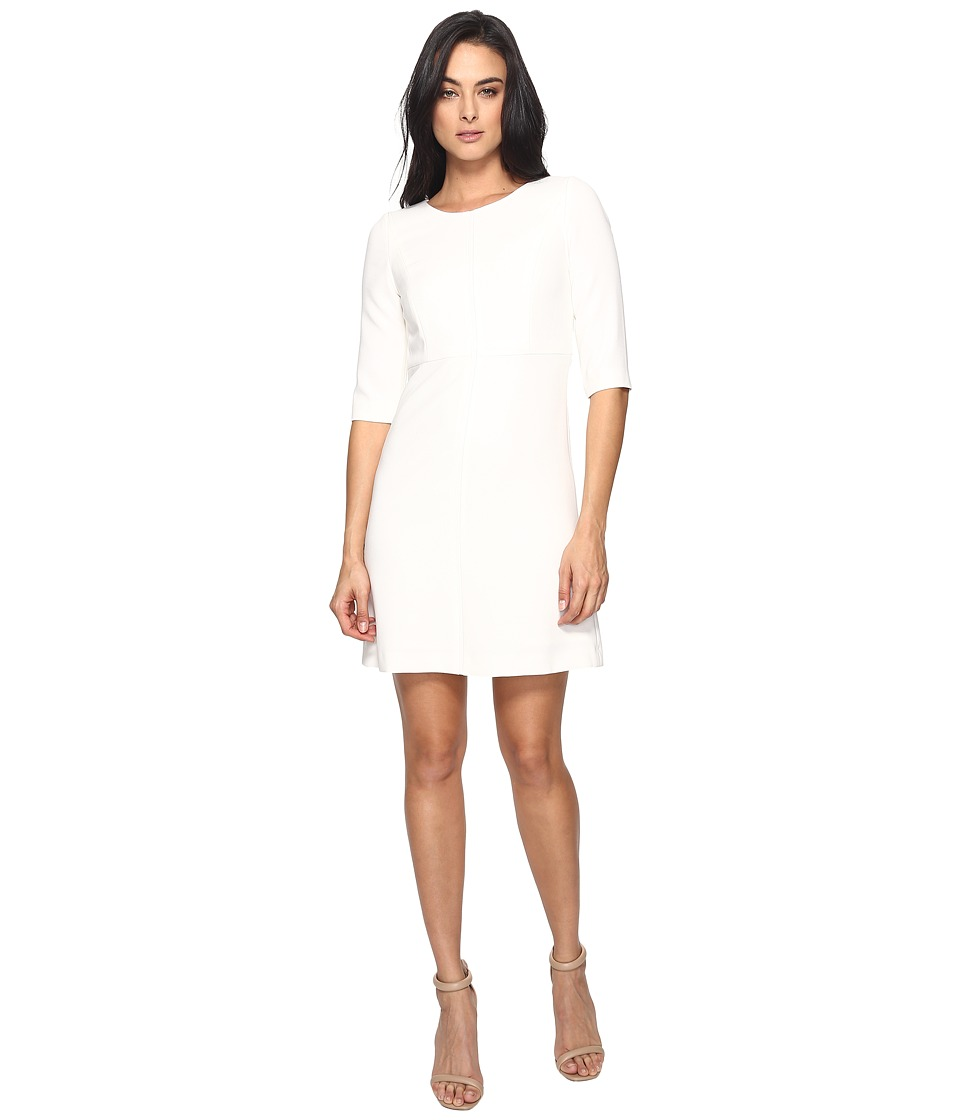 Tahari by ASL Classic Double Woven Sleeved A-Line Dress (Ivory) Women