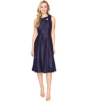 Tahari by ASL - Pearl Brooch Tea-Length Fit & Flare Dress