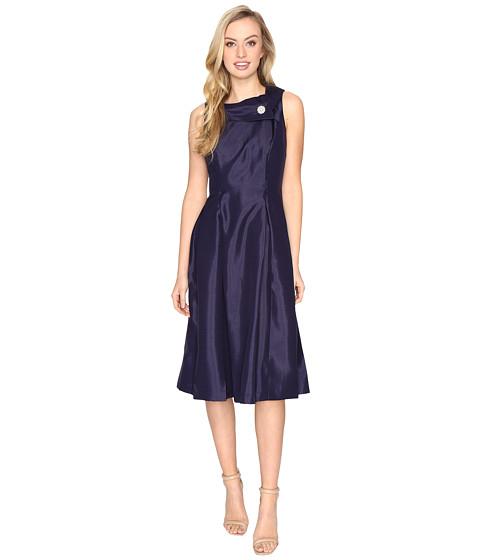 Tahari by ASL Pearl Brooch Tea-Length Fit & Flare Dress