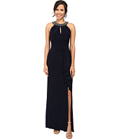 Vince Camuto - Gathered Neck Halter Gown w/ Beading at Neckband
