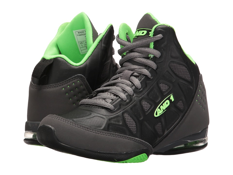 AND1 Kids Master 3 (Little Kid/Big Kid) (Castlerock/Black/Jasmine Green) Boys Shoes