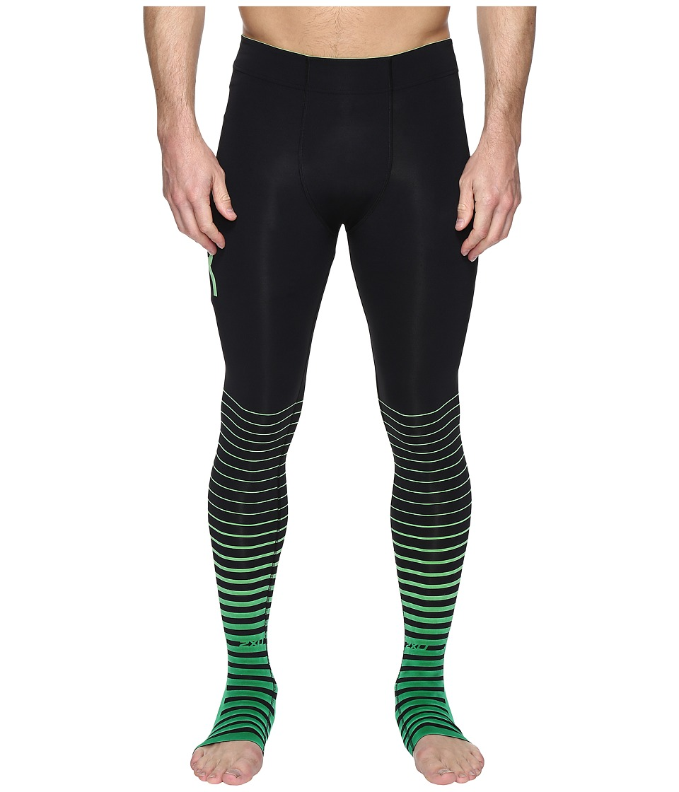 2XU ELITE Recovery Compression Tights (Black/Green) Men