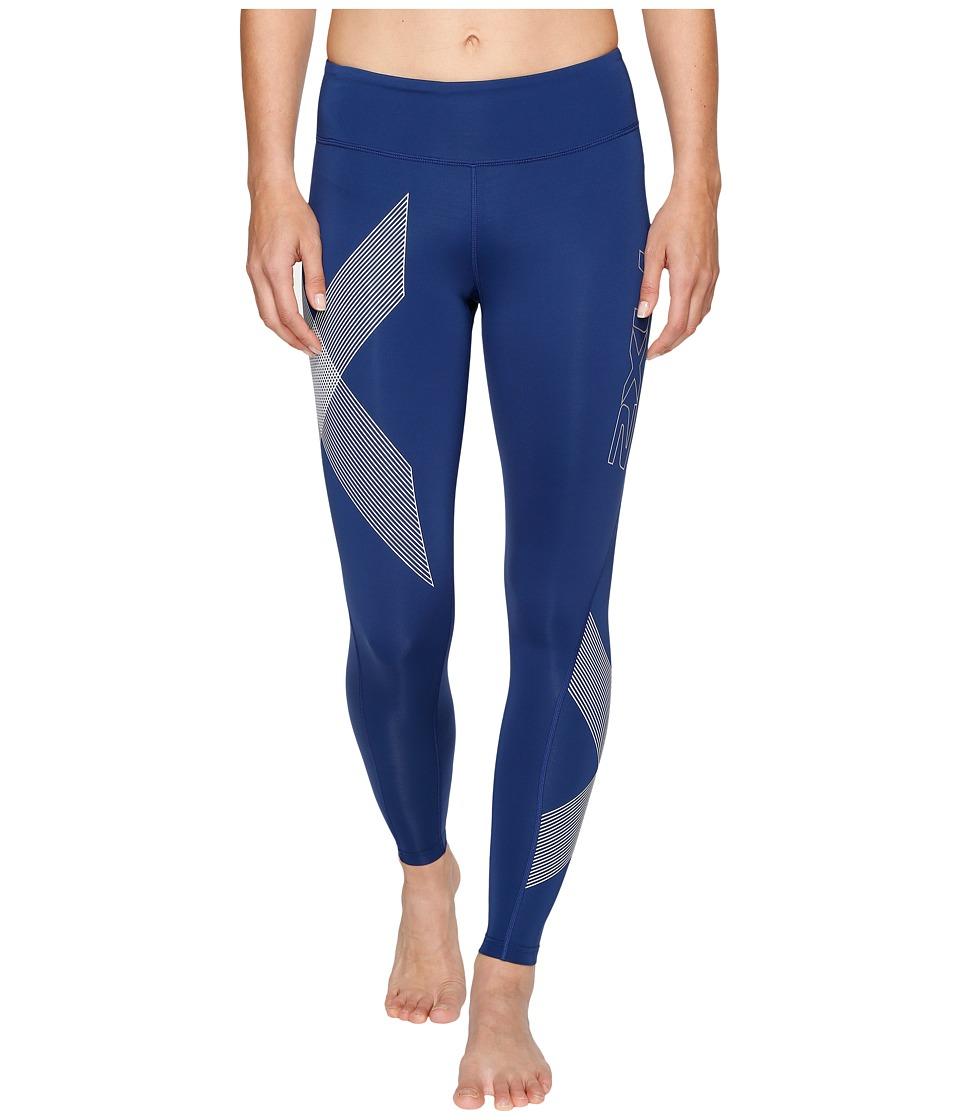 2XU Mid-Rise Compression Tights (Dark Colony Blue/Striped White) Women