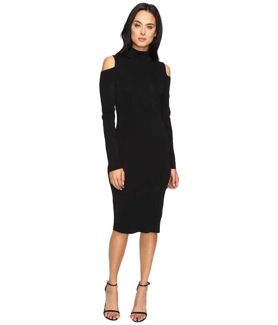 Laundry by Shelli Segal Mock Neck Cold Shoulder Sweater Dress (Black) Women