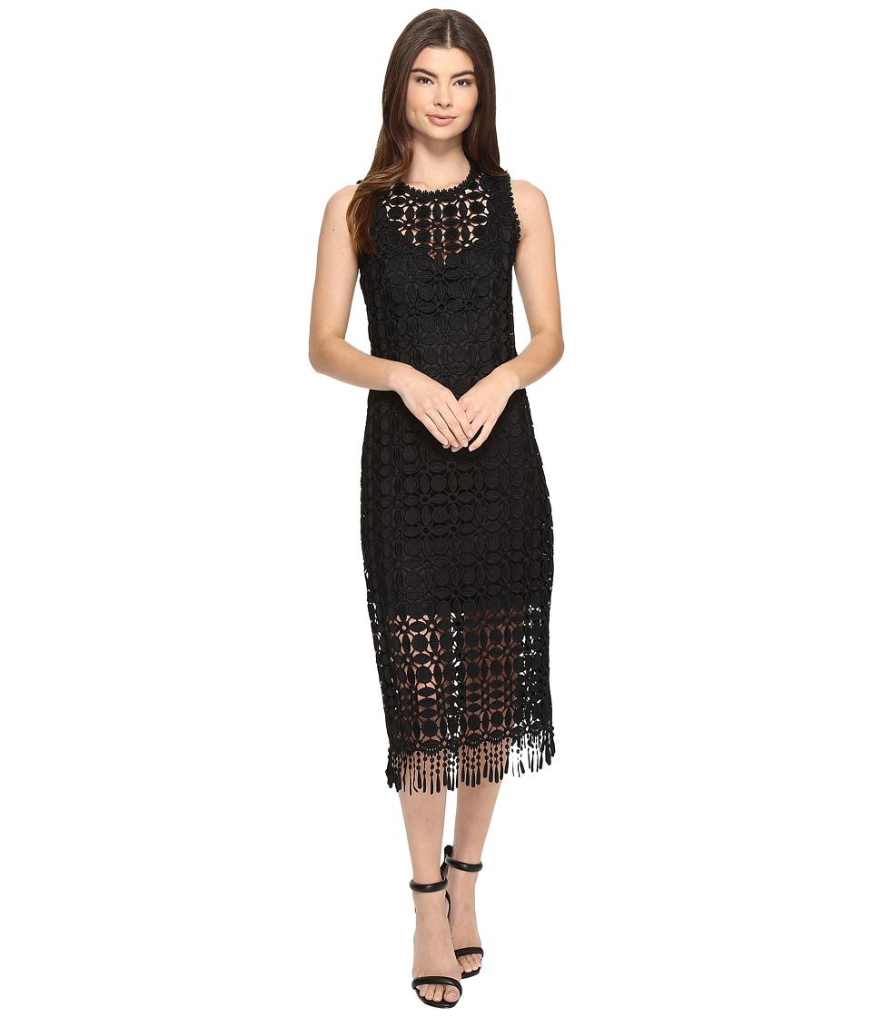 Laundry by Shelli Segal Sleeveless Dress w/ Fringe Hem (Black) Women