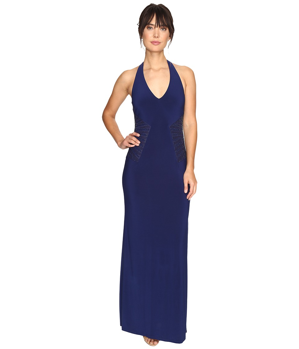 Laundry by Shelli Segal Embellished Halter Gown (Midnight) Women