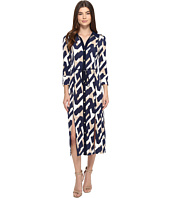 Laundry by Shelli Segal - Long Printed Shirtdress w/ Slits