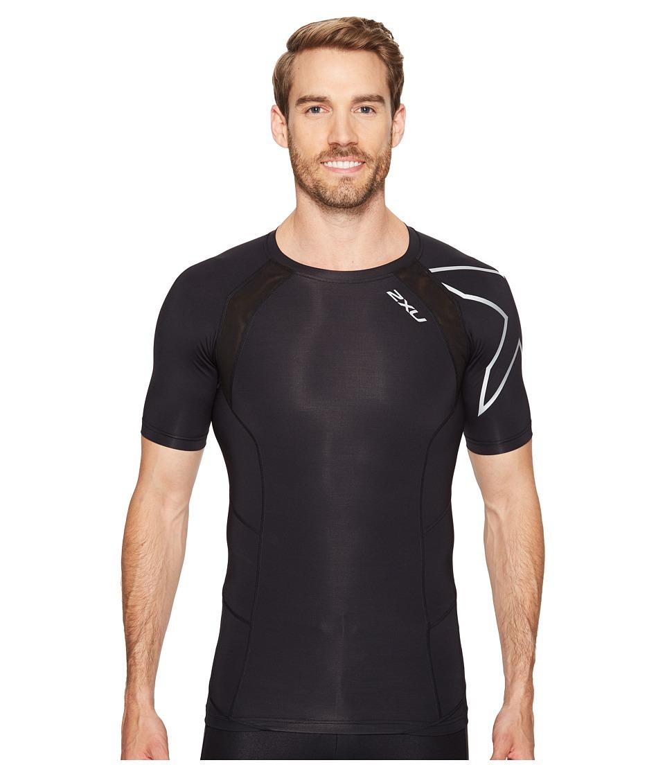 2XU Compression Short Sleeve Top (Black/Silver) Men