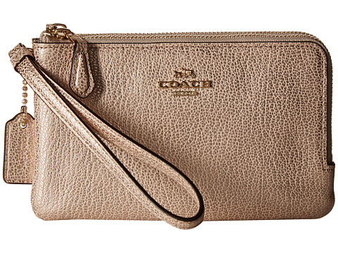 COACH Polished Pebbled Leather Double Corner Zip Bag