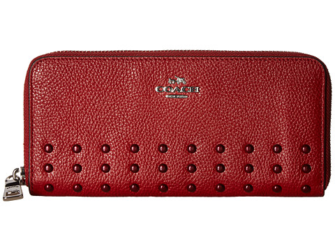 COACH Rivets Slim Accordian Zip - SV/Red Currant