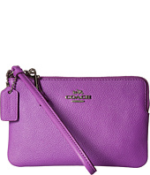 COACH - Box Program Txt Leather Small L-Zip Wristlet