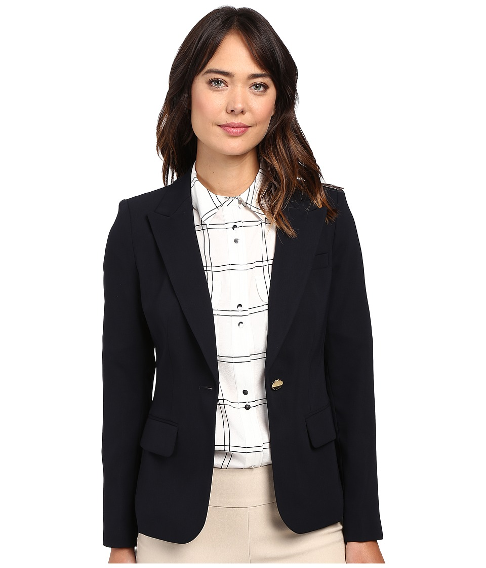 Ivanka Trump - One Button Crepe Jacket (Navy) Womens Coat