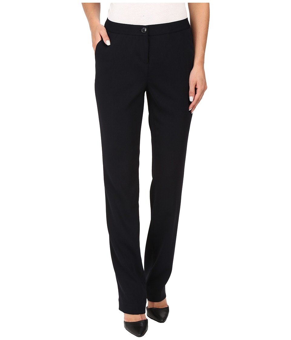 Ivanka Trump - Crepe Straight Leg Pants (Navy) Womens Clothing