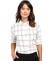 Ivanka Trump - Box Plaid Double Button Blouse