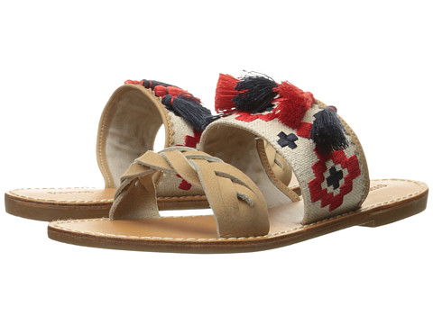 Soludos Embroidered Slide Flat Sandal - Sand Cotton Woven Canvas