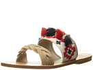 Soludos - Embroidered Slide Flat Sandal (Sand Cotton Woven Canvas)