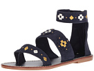 Soludos - Embroidered Three Banded Sandal (Midnight Blue Suede)