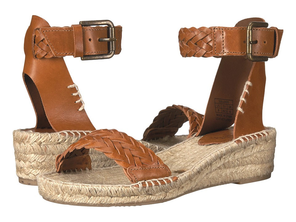 Soludos Woven Demi Wedge Open Toe Sandal (Camel Leather) Women